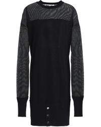 McQ - Tulle-paneled Wool Mini Dress - Lyst
