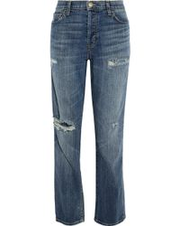 Current/Elliott - The Slouchy Distressed Boyfriend Jeans - Lyst