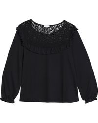 Claudie Pierlot - Lace-trimmed Jersey Top - Lyst