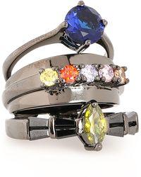 Iosselliani - Gunmetal-tone Stone Ring - Lyst