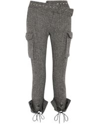 Monse - Lace-up Herringbone Wool Skinny Trousers - Lyst