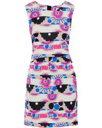 MILLY - Printed Cotton-blend Faille Mini Dress - Lyst