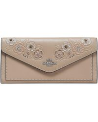 COACH - Embellished Embossed Leather Wallet - Lyst