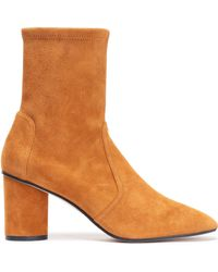 03212f22e6b Stuart Weitzman - Woman Smooth And Cracked-leather Ankle Boots Tan - Lyst