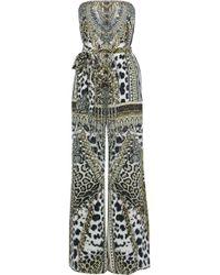 Camilla - Belted Embellished Printed Silk Jumpsuit Sage Green - Lyst