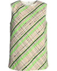 Maison Margiela - Neon Checked Cotton-blend Tweed Top Lime Green - Lyst