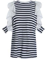 CLU - Ruffled Silk-trimmed Striped Cotton-jersey Top - Lyst