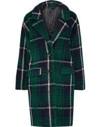 Line Seymour Checked Fleece Coat Forest Green