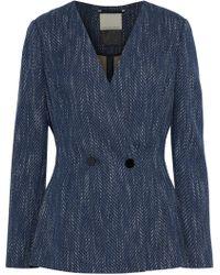 By Malene Birger - Delgada Double-breasted Cotton-blend Tweed Blazer Indigo - Lyst