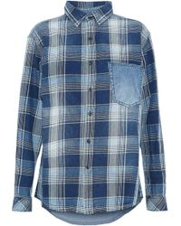 Current/Elliott - Chambray-paneled Checked Cotton-twill Shirt - Lyst