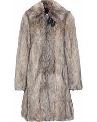 Helmut Lang - Wolf Leather-trimmed Faux Fur Coat - Lyst