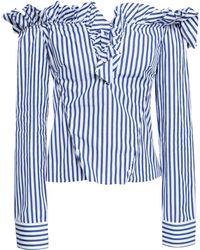 Marques'Almeida - Woman Off-the-shoulder Striped Cotton-poplin Shirt Royal Blue - Lyst