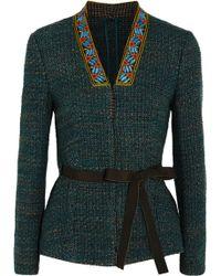 Etro - Embellished Tweed Jacket Dark Green - Lyst