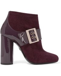 Lanvin - Buckled Suede and Patent-Leather Ankle Boots - Lyst