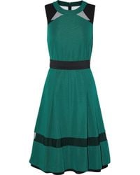 Mikael Aghal - Pleated Mesh-paneled Cady Dress - Lyst