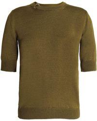 Nina Ricci - Rib-trimmed Stretch-knit Wool And Silk-blend Top Army Green - Lyst