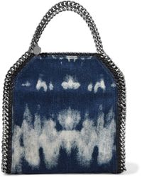 Stella McCartney - Mini Faux Leather And Chain-trimmed Bleached Denim Shoulder Bag - Lyst