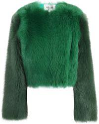 Diane von Furstenberg - Cropped Color-block Shearling Coat - Lyst