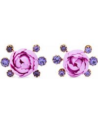 Elizabeth Cole - Xenia 24-karat Gold-plated, Resin And Crystal Earrings Lavender - Lyst
