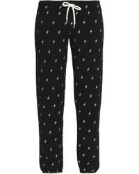 Monrow - Printed Mélange Jersey Track Trousers - Lyst