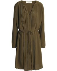 Vanessa Bruno Athé - Pintucked Crepe Shirt Dress Army Green - Lyst