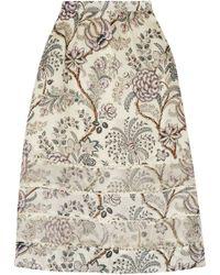 Zimmermann - Adorn Organza-paneled Printed Silk Crepe De Chine Midi Skirt - Lyst