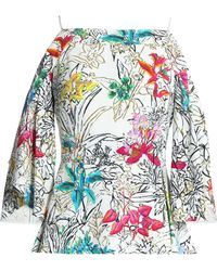 Peter Pilotto - Cold-shoulder Printed Crepe Blouse - Lyst