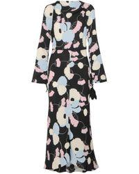 Marni - Embellished Printed Silk Crepe Dmaxi Dress - Lyst