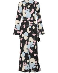 Marni - Woman Embellished Printed Silk Crepe Dmaxi Dress Black - Lyst