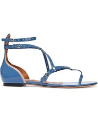 Valentino - Love Latch Eyelet-embellished Patent-leather Sandals Blue - Lyst