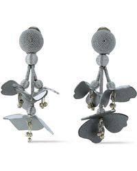 Oscar de la Renta - Silver-tone, Cord, Bead And Resin Clip Earrings - Lyst