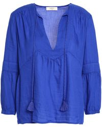 Ba&sh - Woman Tasselled Cotton-twill Blouse Bright Blue - Lyst