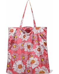 Prada - Leather-trimmed Floral-print Shell Tote - Lyst