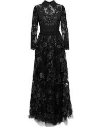 Valentino - Woman Crochet-paneled Leather-appliquéd Lace Gown Black - Lyst