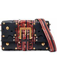 Valentino - Studded Printed Textured-leather Shoulder Bag - Lyst
