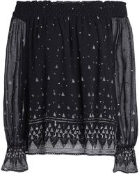 Joie - Lilo Off-the-shoulder Embellished Printed Silk-georgette Blouse - Lyst