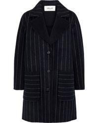 Diane von Furstenberg - Woman Pinstriped Wool-blend Felt Coat Midnight Blue - Lyst