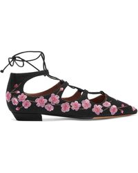 Tabitha Simmons - Magnolia Blossom Embroidered Canvas Point-toe Flats - Lyst