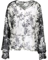 Lover - Woman Printed Silk-georgette Blouse Off-white - Lyst