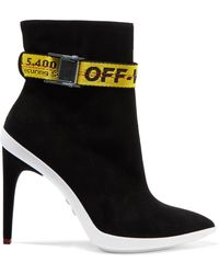 Off-White c/o Virgil Abloh - Woven-trimmed Suede Ankle Boots Black - Lyst