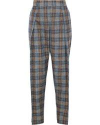 Giorgio Armani - Checked Wool, Silk And Linen-blend Tapered Pants - Lyst