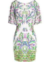 Roberto Cavalli - Draped Printed Jersey Mini Dress - Lyst