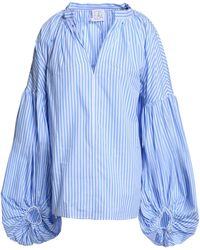 Stella Jean - Woman Gathered Striped Cotton-poplin Blouse Light Blue - Lyst