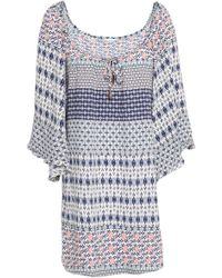 Eberjey - Woman Gathered Printed Voile Coverup Navy - Lyst