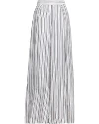 8f48252a8b Zimmermann - Woman Pleated Striped Twill Wide-leg Pants Off-white - Lyst