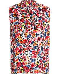 Love Moschino - Draped Floral-print Crepe Top - Lyst