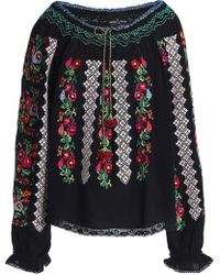 Needle & Thread - Embroidered Crepe Tunic - Lyst