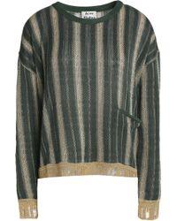 Acne Studios - Metallic Striped Crochet-knit Sweater Forest Green - Lyst