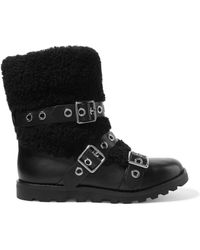 Marc By Marc Jacobs | Eyelet-embellished Leather And Shearling Boots | Lyst