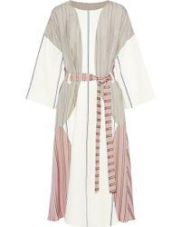 Esteban Cortazar - Belted Striped Cotton Blend-paneled Satin-crepe And Jacquard Midi Dress - Lyst
